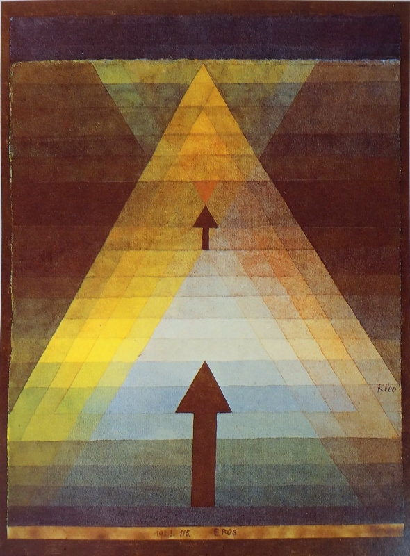 paul klee 1923 watercolor on paper, mounted on cardboard, 13 x 9 in, collection rosengart, lucerne