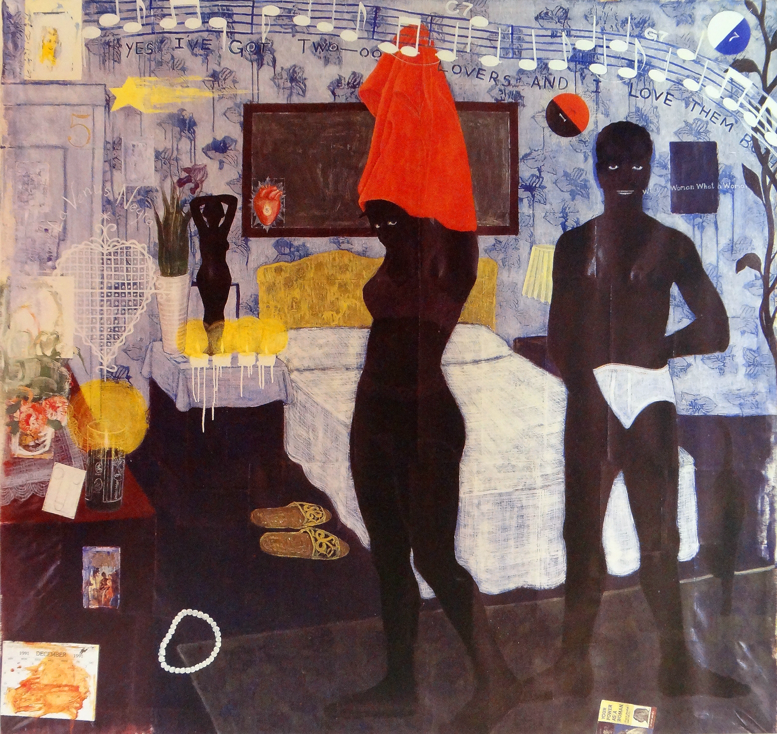 """Could this be love, acrylic and collage on canvas, 85"""" x 92"""", 1992, bailey collection"""